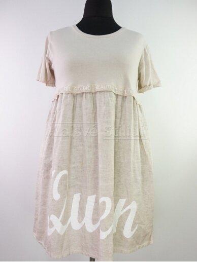Vienspalvė suknelė parauktu sijonu 4
