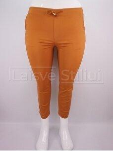 Garstyčių spalvos trumpintos kelnės su guma