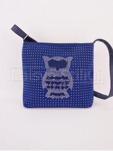 Mėlyna rankinė per petį su pelėda