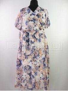 Mėlynomis gėlėmis šifoninė suknelė