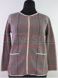 Pilkas su rusva megztinis su užtrauktuku