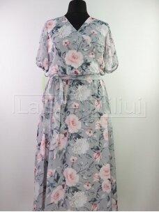 Pilka gėlėta šifoninė suknelė