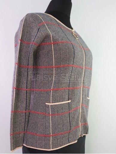 Pilkas su rusva megztinis su užtrauktuku 2