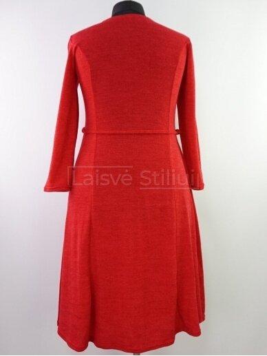 Raudona liemenuota platėjanti suknelė 3