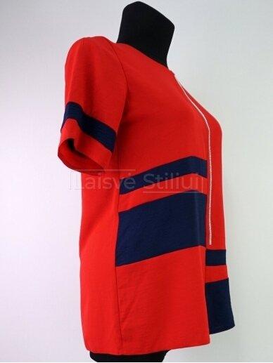 Raudona su tamsiai mėlyna spalva palaidinė 2