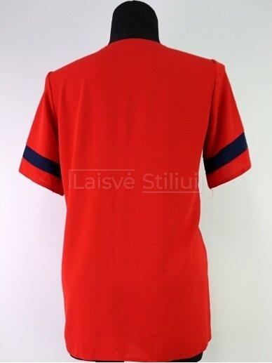 Raudona su tamsiai mėlyna spalva palaidinė 3