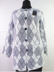 Šviesus su tamsiai mėlyna megztinis