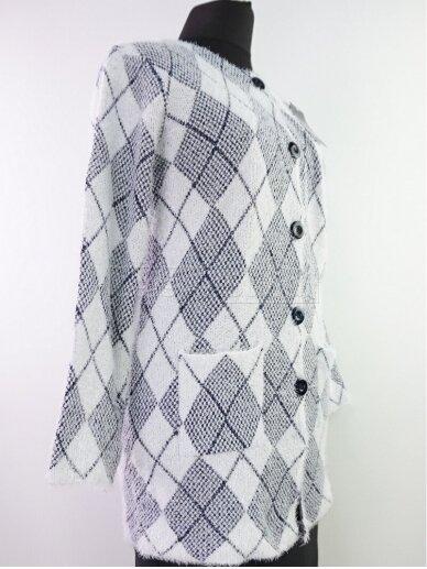 Šviesus su tamsiai mėlyna megztinis 2