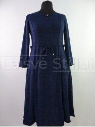 Tamsiai mėlyna liemenuota platėjanti suknelė