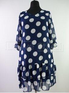 Tamsiai mėlyna burbulais šifoninė suknelė
