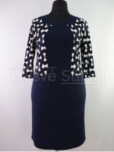 Tamsiai mėlyna suknelė baltais raštais