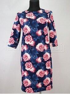 Tamsiai mėlyna  suknelė su rožėmis