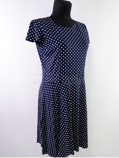 Tamsiai mėlyna baltais žirniukais suknelė 2