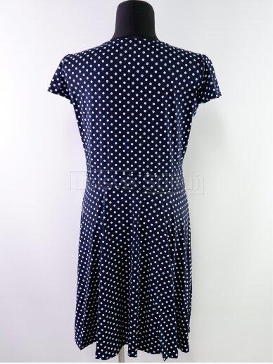 Tamsiai mėlyna baltais žirniukais suknelė 3