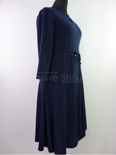 Tamsiai mėlyna liemenuota platėjanti suknelė 2