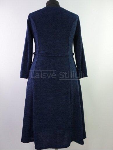 Tamsiai mėlyna liemenuota platėjanti suknelė 3