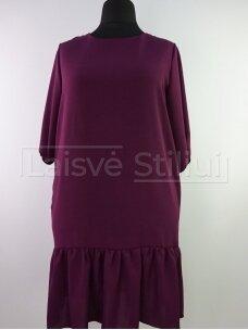 Violetinė suknelė su paraukimu